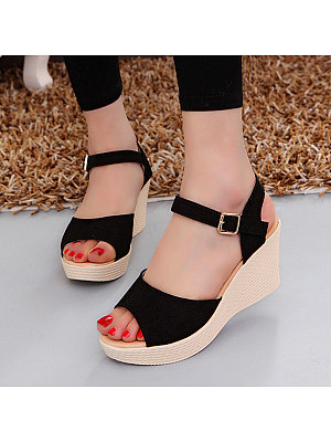 Plain Peep Toe Casual Wedge Sandals