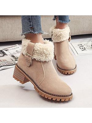Plain Chunky High Heeled Velvet Round Toe Date Outdoor Short High Heels Boots, 5670895