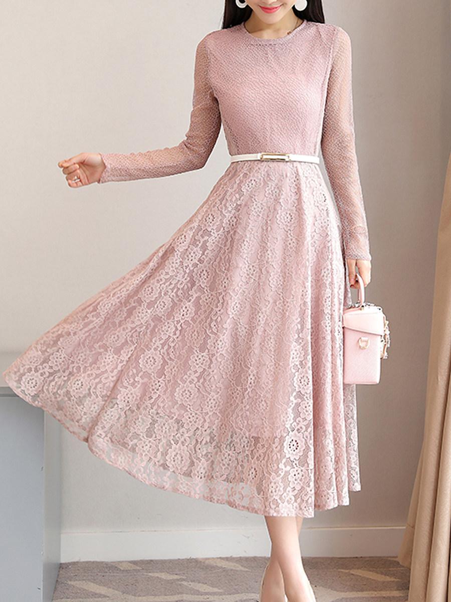 Round Neck Belt Lace Maxi Dress