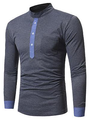 Band Collar Men Color Block T-Shirt
