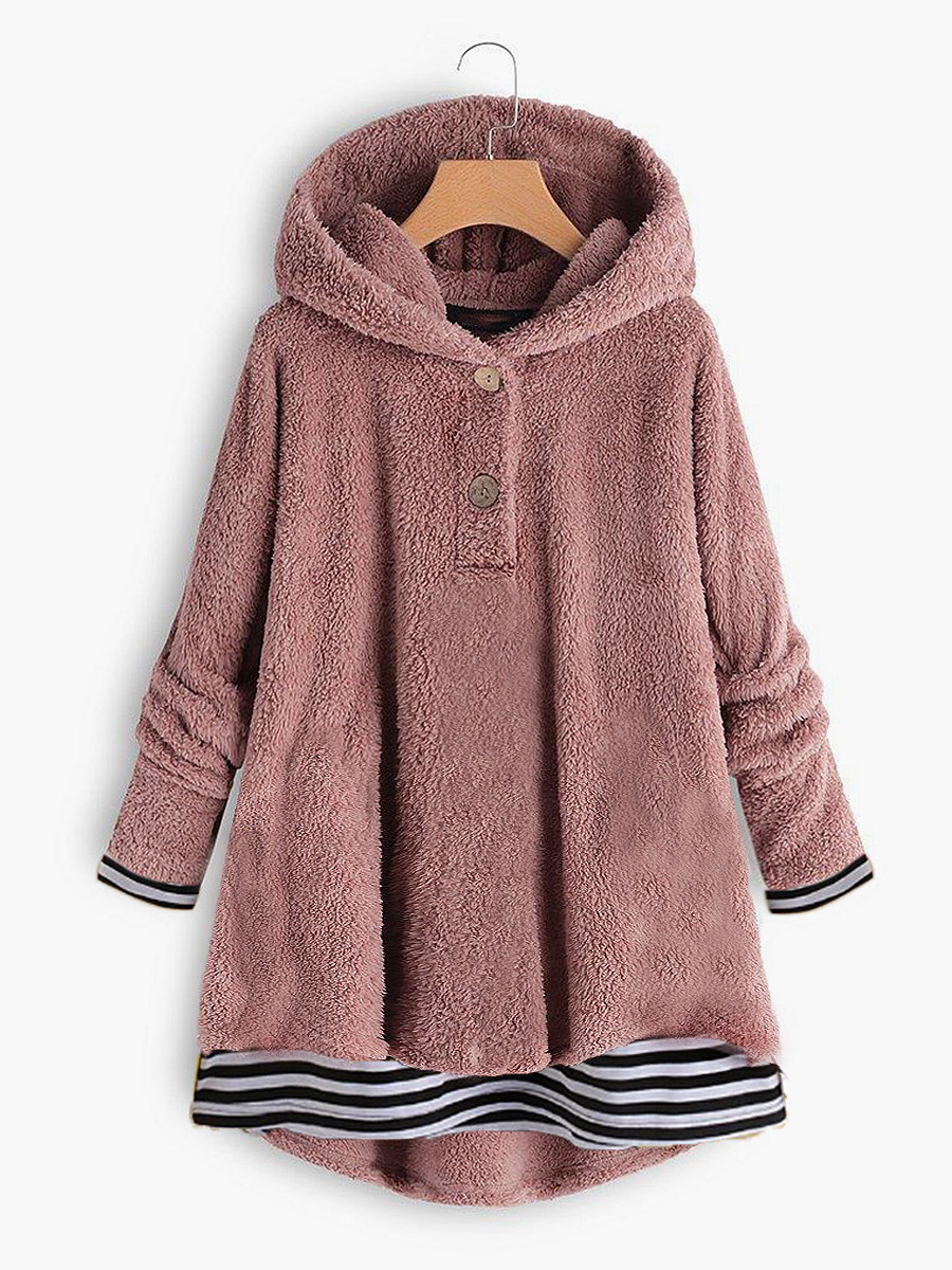 BerryLook Casual  Fake Two-Piece  Colouring  Long Sleeve Hoodie