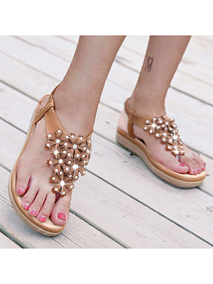 BERRYLOOK / SOCOFY Bohemian Floral  Flat  Ankle Strap  Peep Toe  Date Outdoor Sandals