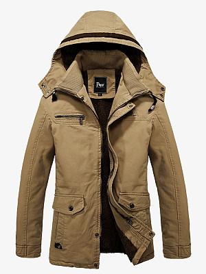 Hooded Flap Pocket Fleece Lined Plain Men Coat