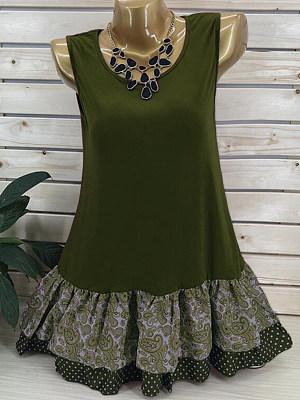 Summer Cotton Women Round Neck Patchwork Floral Sleeveless T-Shirts, 6476724