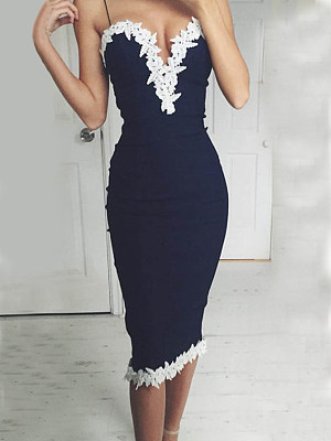 Spaghetti Strap  Embossed Design Patchwork Bodycon Dress