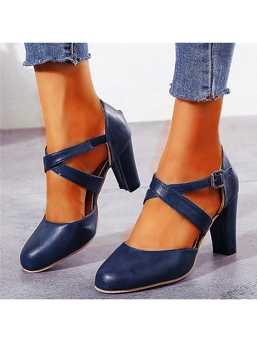BerryLook Plain Chunky High Heeled Round Toe Date Travel Pumps