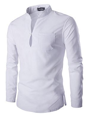 Split Neck  Plain Pocket Men T-Shirt