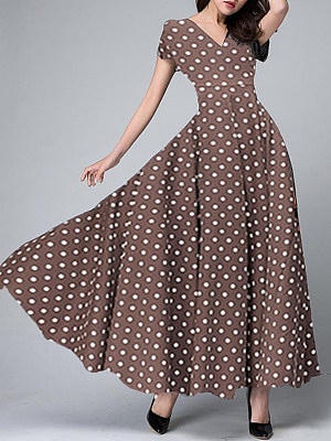 V-Neck Polka Dot Maxi Dress фото