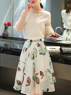 Round Neck Floral Printed Bell Sleeve Two-Piece Skater Dress, 6982240