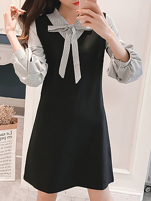 Tie Collar Patchwork Color Block Shift Dress