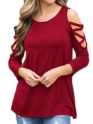 Round Neck Patchwork Plain Three-Quarter Sleeve T-Shirts, 7535400