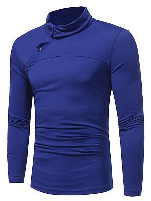Turtleneck Plain Diagonal Buttons Men T-Shirt