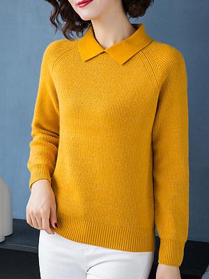 Lapel  Elegant  Plain  Long Sleeve  Knit  Pullover