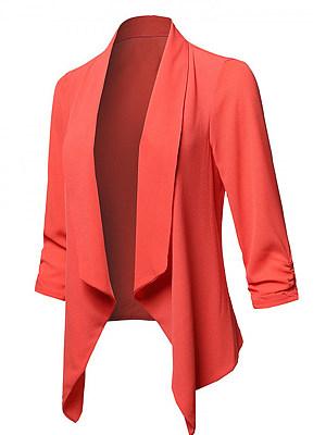 Fold-Over Collar Asymmetric Hem Plain Long Sleeve Blazers