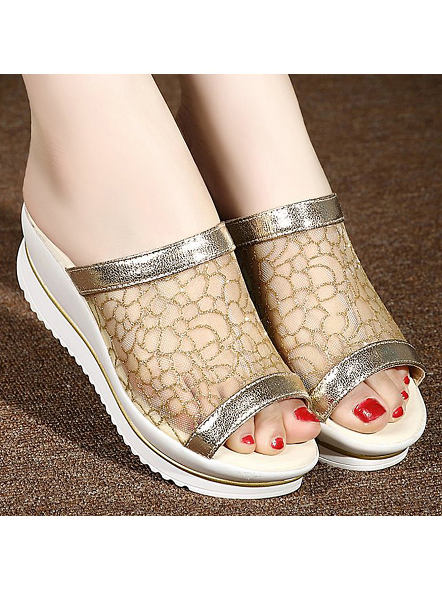 Lace  High Heeled  Lace  Peep Toe  Casual Wedges