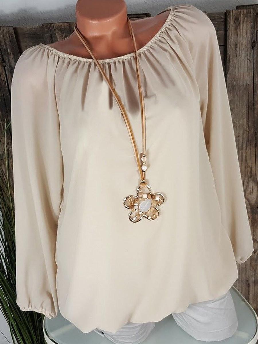 Autumn Spring  Cotton  Women  Round Neck  Plain  Long Sleeve Blouses