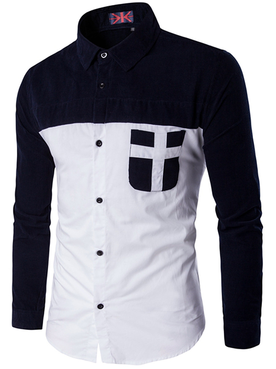 Turn Down Collar Color Block Patch Pocket Men Shirts