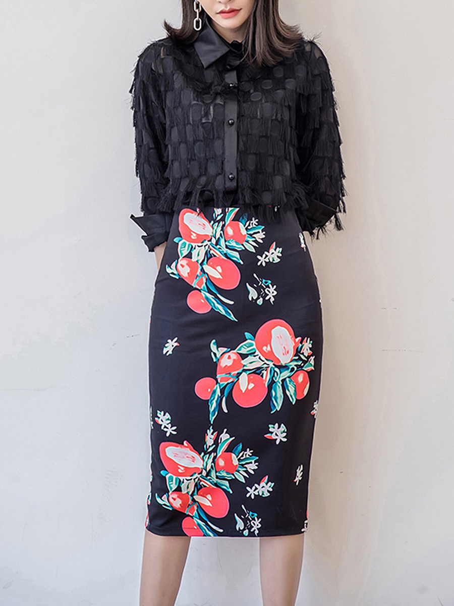 Delicate Floral Printed Slit Pencil Midi Skirt