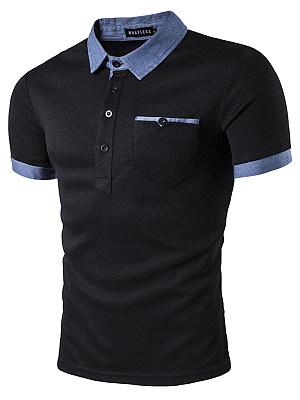 Casual Polo Collar Contrast Trim Men T-Shirt