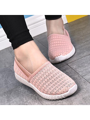 Plain Flat Round Toe Casual Sport Sneakers, 4748389