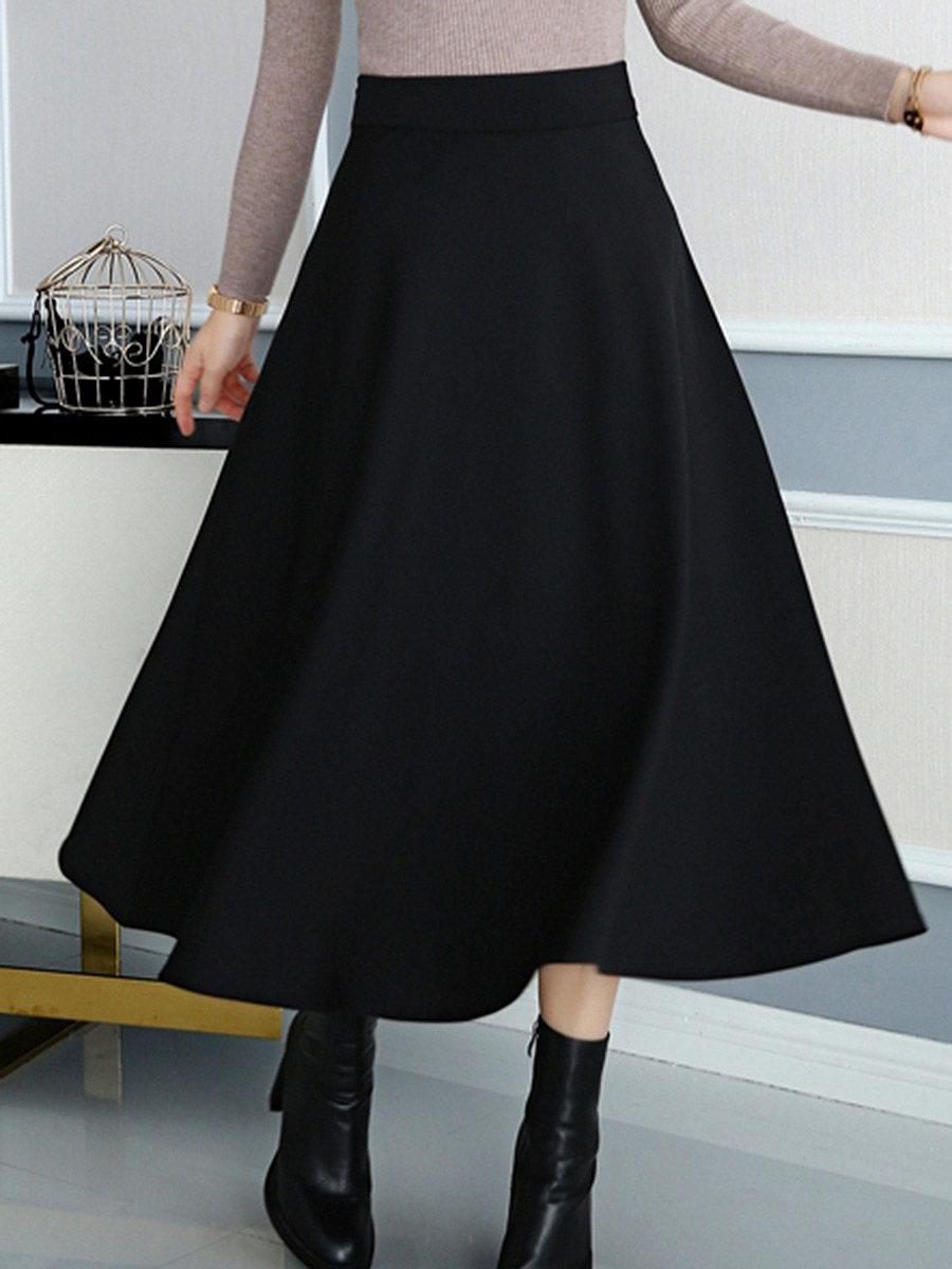 Basic Plain Flared Maxi Skirt