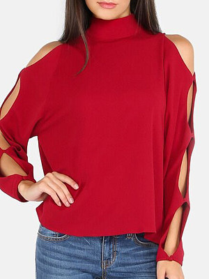 BERRYLOOK / Short High Collar  Patchwork  Fashion  Plain  Long Sleeve  Blouses