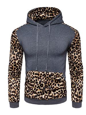 Leopard Color Block Kangaroo Pocket Men Hoodie