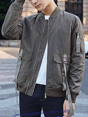 Men Band Collar Flap Pocket Plain Bomber Jacket