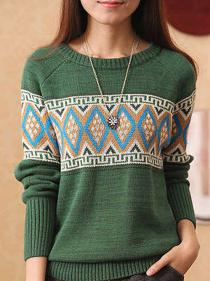 Round Neck Patchwork Cute Bohemian Long Sleeve Knit Pullover, 8444920
