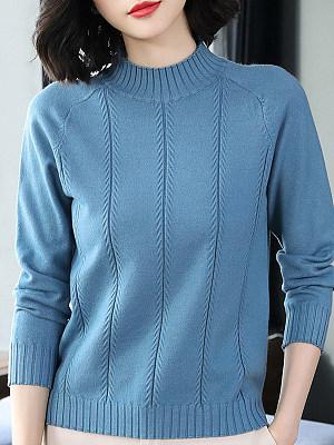 Round Neck Elegant Plain Long Sleeve Knit Pullover, 10017200