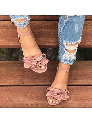 Plain  Flat  Velvet  Ankle Strap  Peep Toe  Casual Outdoor Flat Sandals