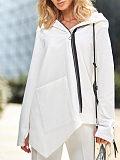 Image of Casual Long Sleeve Splice Irregular Sweatshirt