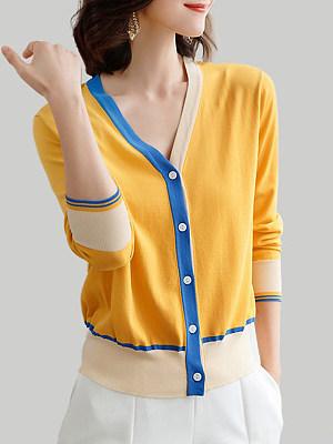 V Neck  Patchwork  Color Block  Long Sleeve  Kint Cardigans