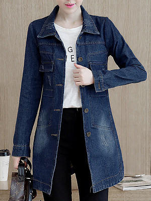 Lapel Denim Flap Pocket Ripped Trench Coat