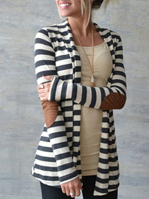 Round Neck  Single Breasted  Striped Blazers