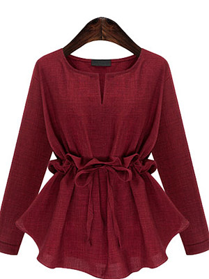 Autumn Spring Cotton Women V-Neck Bowknot Drawstring Plain Long Sleeve Blouses