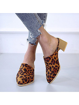 Animal Printed Plain Chunky High Heeled Point Toe Date Pumps, 7251943