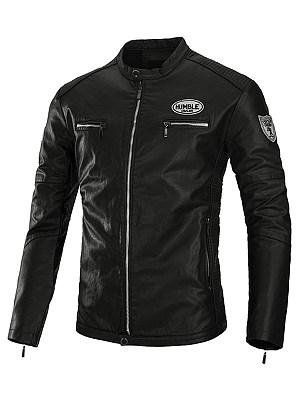 Band Collar Badge PU Leather Men Biker Jacket