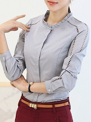 Round Neck Patchwork Elegant Plain Long Sleeve Blouse, 8448177