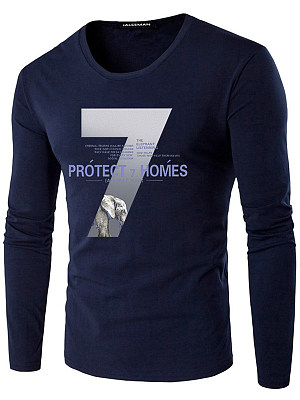 Men Number Letters Printed Round Neck T-Shirt, 3855395