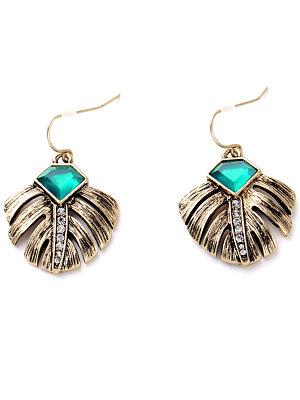 Leaf-Shaped Rhinestone Drop Earrings