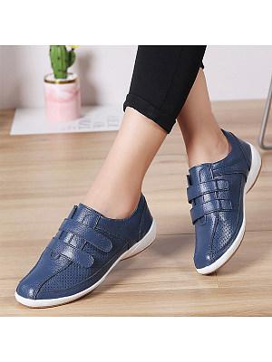 Women's Vintage Leather Wild Velcro Flat Shoes, 8626798