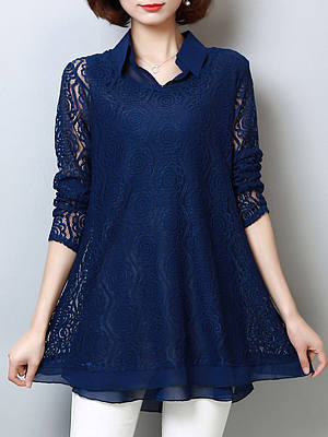 Turn Down Collar Hollow Out Plain Blouses