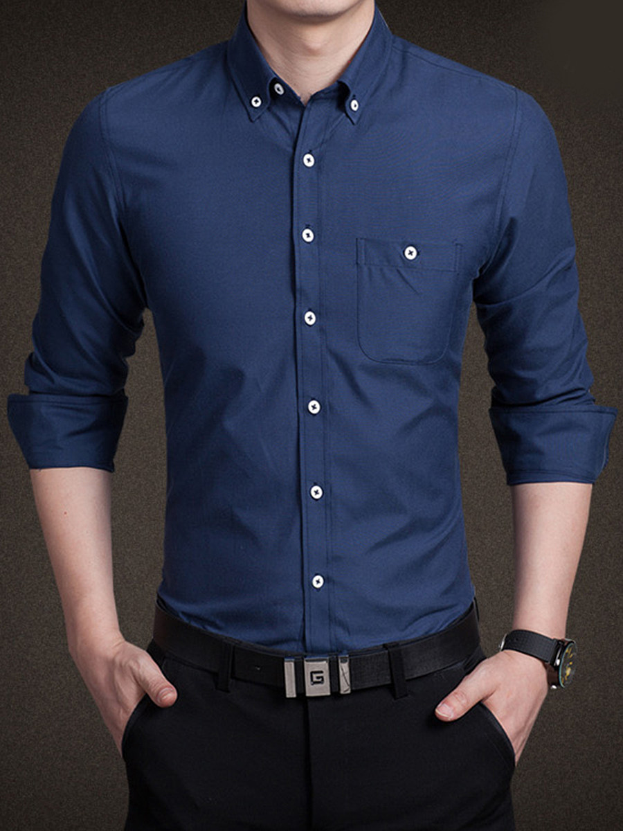 Button Down Collar Plain Men Shirt With Pocket