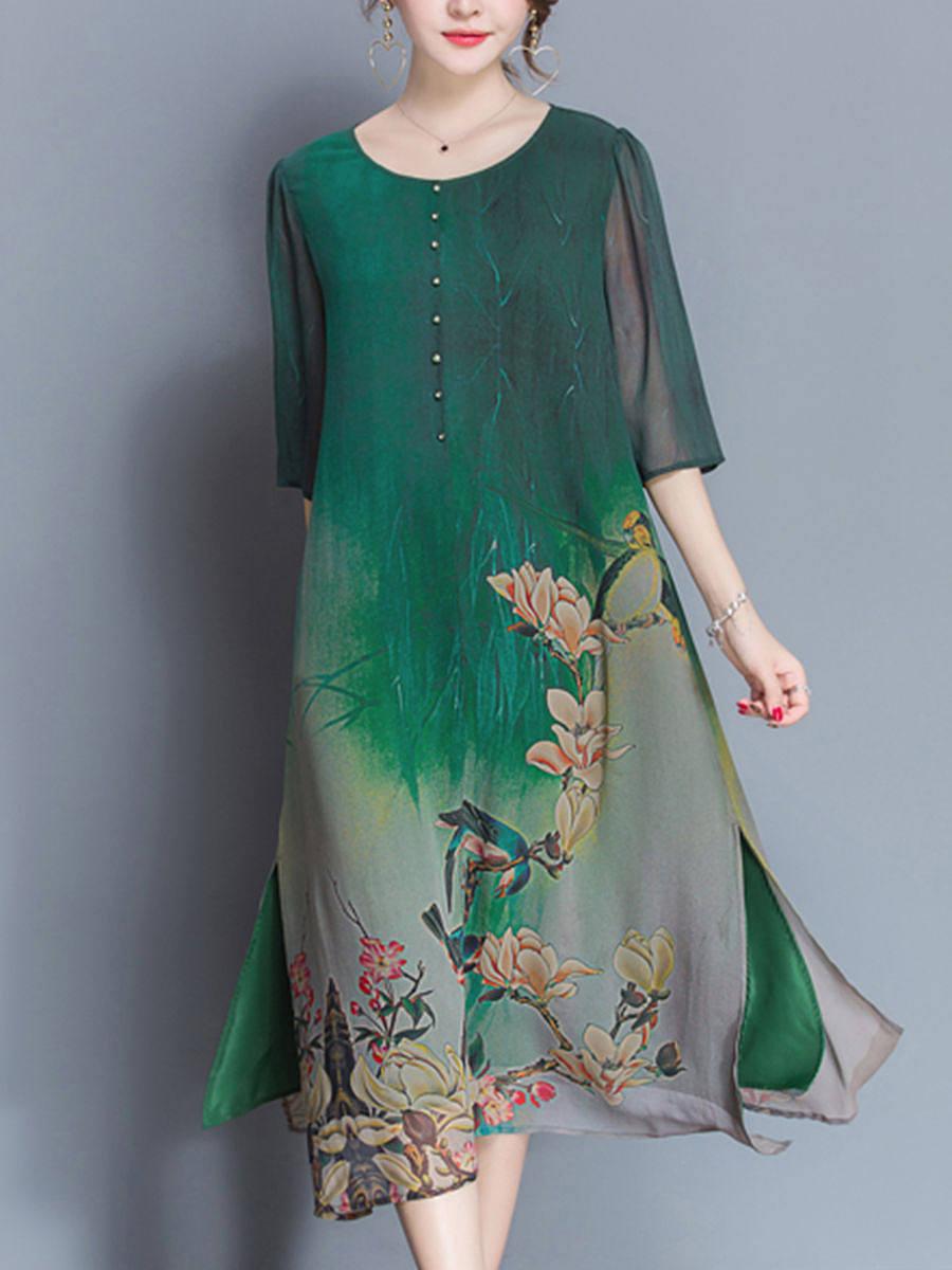 Round Neck  Side Slit  Floral Hollow Out Shift Dresses