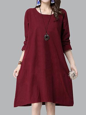 Round Neck Patch Pocket Plain Shift Dress, 9983010