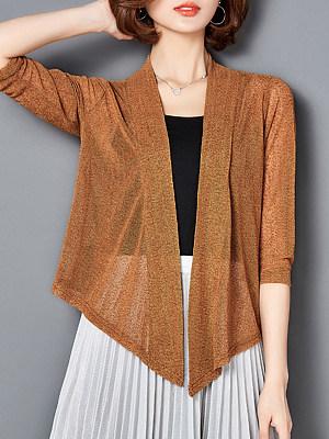 Asymmetric Hem See-Through Plain Three-Quarter Sleeve Cardigans
