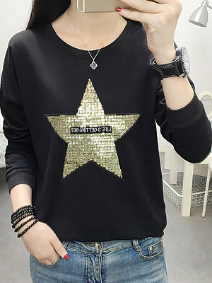 Casual Glitter Star Shoulder Sleeve Long Sleeve Sweatshirt, 8920775