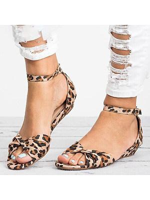 Animal Printed Flat Velvet Peep Toe Casual Date Flat Sandals