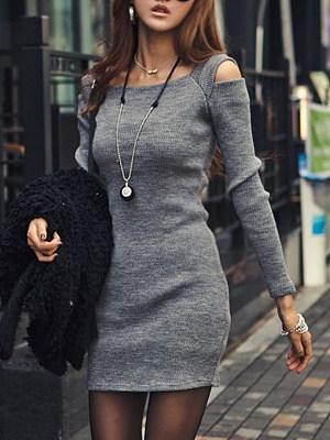 Open Shoulder Plain Bodycon Dress фото